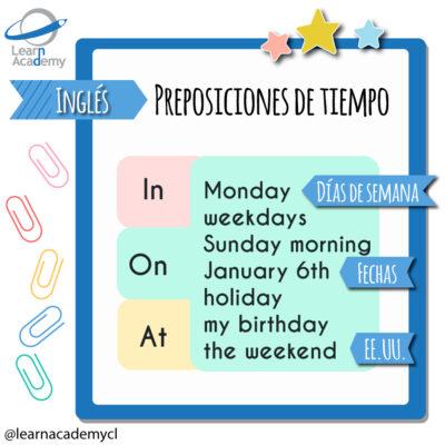 preposiciones de tiempo en inglés